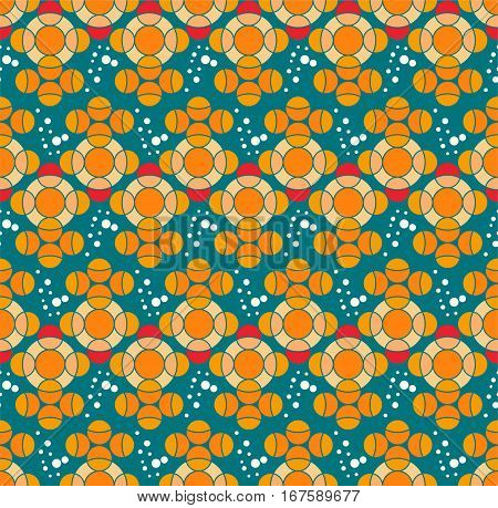 Seamless pattern with fish, Fabric design. Blue background, -Squirting goldfish cyan Blue