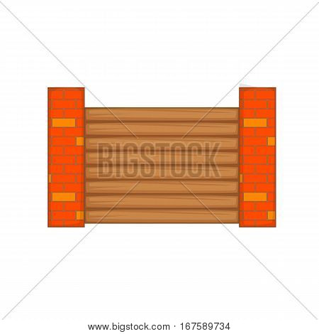Fence with brick pillars icon. Cartoon illustration