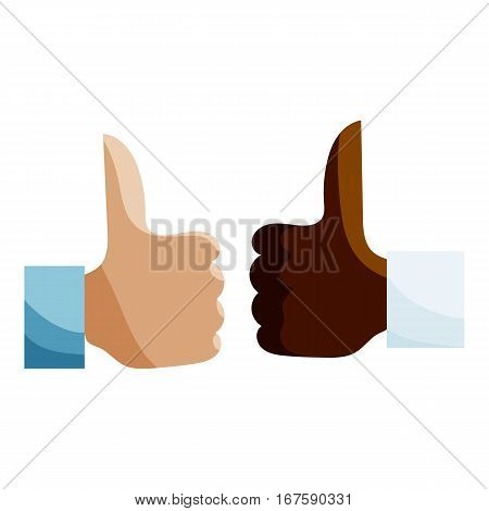 Human hands different nationalities showing Like icon. Cartoon illustration of human hands different nationalities showing Like vector icon for web