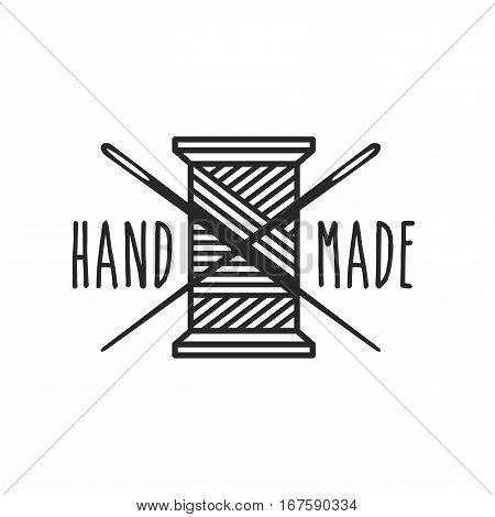 emblem of hand made concept with Thread Spool icon over white background. vector illustration