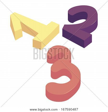 One two three numbers icon. Cartoon illustration of one two three numbers vector icon for web