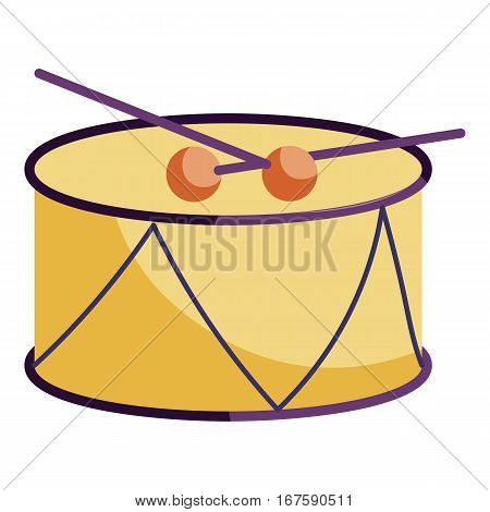 Drum and drum sticks icon. Cartoon illustration of drum and drum sticks vector icon for web