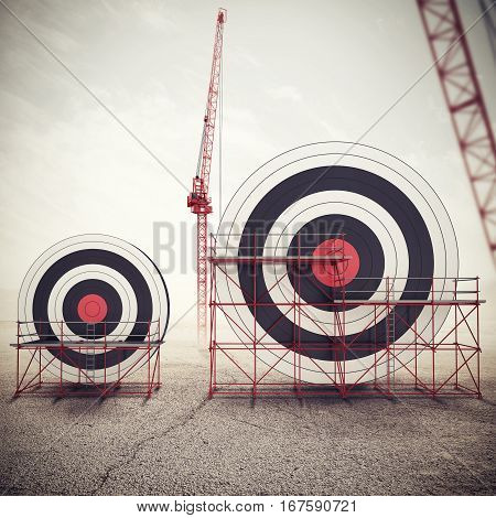 Target under construction. Build a business target and achieve more important goals in work . Mixed media 3D illustration