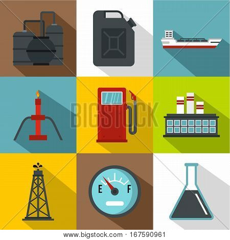 Petroleum icons set. Flat illustration of 9 petroleum vector icons for web