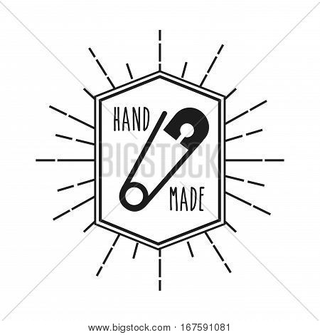 emblem with decorative frame of hand made concept with  safety pin icon over white background. vector illustration
