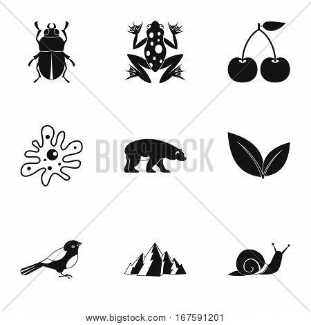 Flora and fauna icons set. Simple illustration of 9 flora vector icons for web