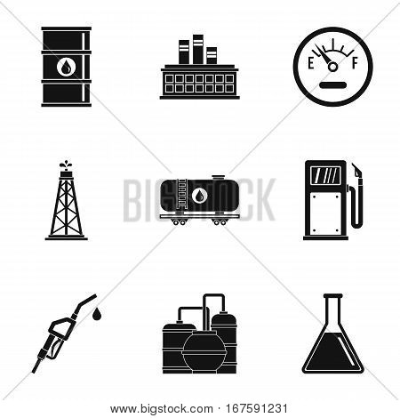 Petroleum icons set. Simple illustration of 9 petroleum vector icons for web