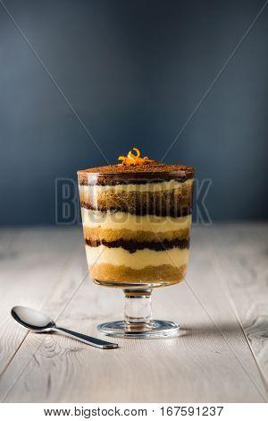 Tiramisu Dessert On A Grey Rustic Table