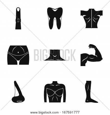 Body parts icons set. Simple illustration of 9 body parts vector icons for web