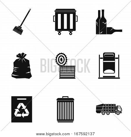 Trash icons set. Simple illustration of 9 trash vector icons for web