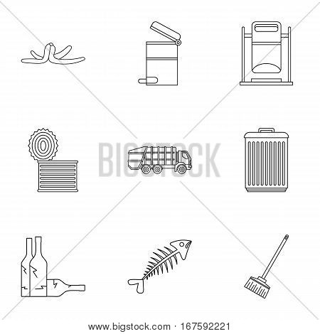 Garbage icons set. Outline illustration of 9 garbage vector icons for web