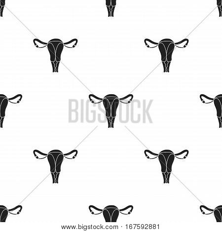 Uterus icon in black style isolated on white background. Pregnancy pattern vector illustration. - stock vector