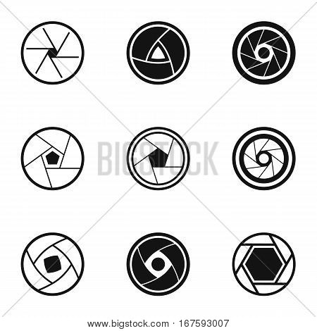 Aperture of photocamera icons set. Simple illustration of 9 aperture of photocamera vector icons for web