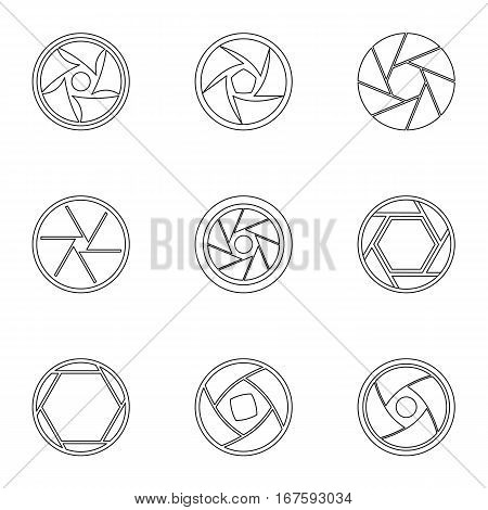 Types of aperture icons set. Outline illustration of 9 types of aperture vector icons for web
