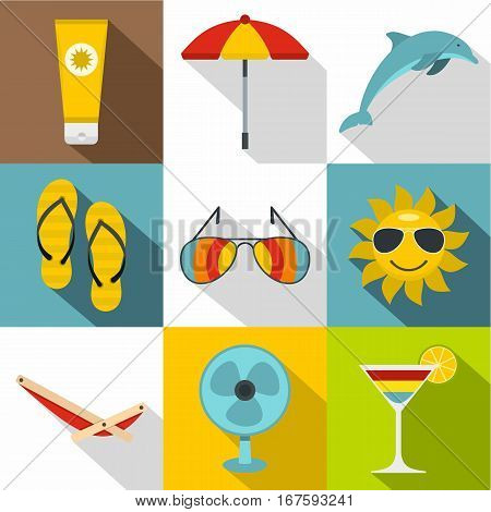 Tourism at sea icons set. Flat illustration of 9 tourism at sea vector icons for web