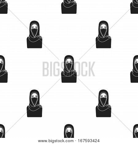 Niqab icon in black style isolated on white background. Religion pattern vector illustration. - stock vector
