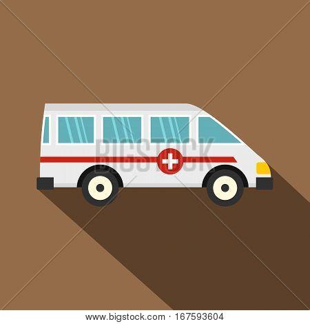 Ambulance car icon. Flat illustration of ambulance car vector icon for web