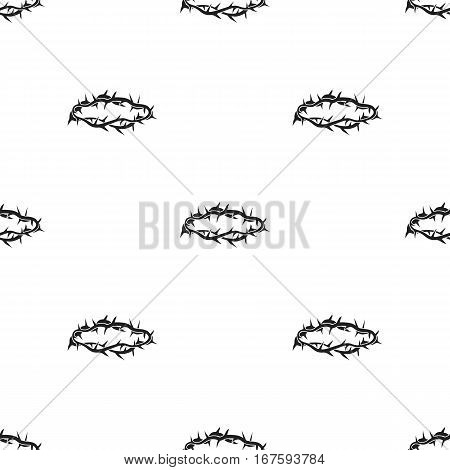 Crown of thorns icon in black style isolated on white background. Religion pattern vector illustration. - stock vector