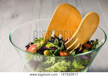 Green Salad In Glass Bowl On A Table