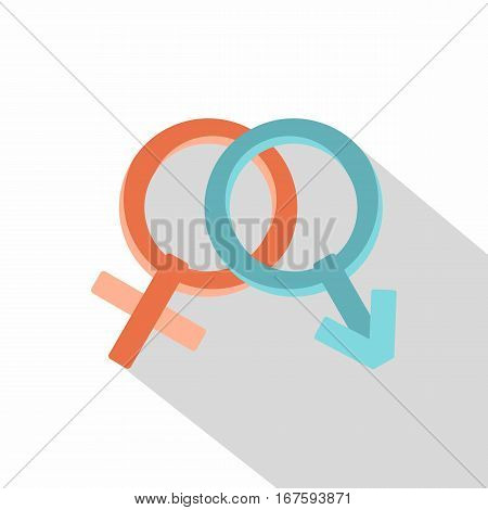 Male and female gender signs icon. Flat illustration of male and female gender signs vector icon for web on white background