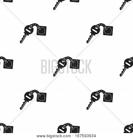 Key icon in black style isolated on white background. Romantic pattern vector illustration. - stock vector