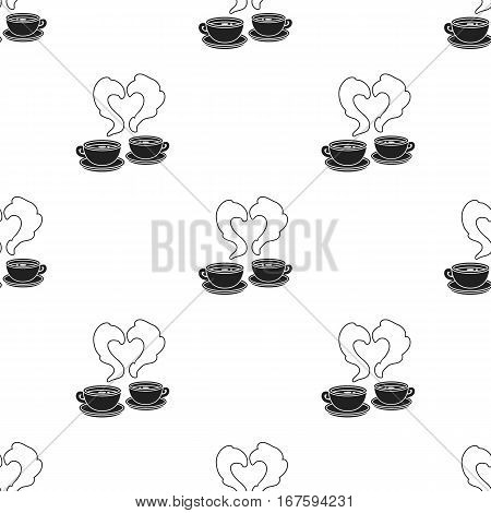 Coffee icon in black style isolated on white background. Romantic pattern vector illustration. - stock vector