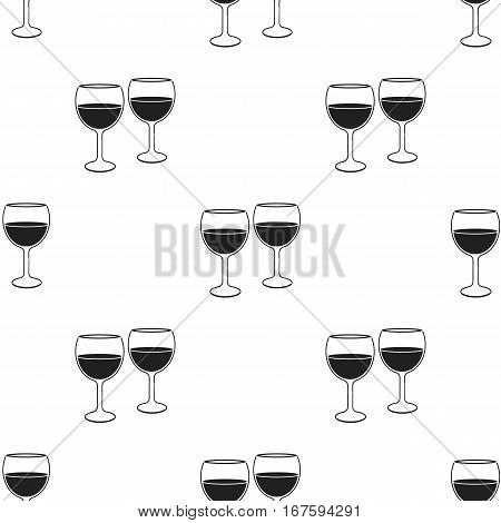 Wine glasses icon in black style isolated on white background. Romantic pattern vector illustration. - stock vector