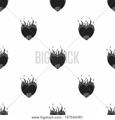 Heart in flame icon in black style isolated on white background. Romantic pattern vector illustration. - stock vector