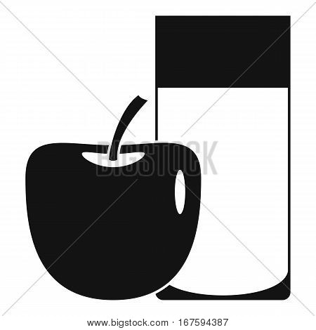 Glass of drink and apple icon. Simple illustration of glass of drink and apple vector icon for web