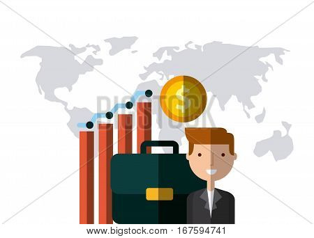 businessman with briefcase, gold coin, graphic chart and gold coin icon over world map and white background. colorful design. vector illustration