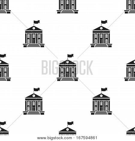 School icon black. Single education icon from the big school, university black. - stock vector