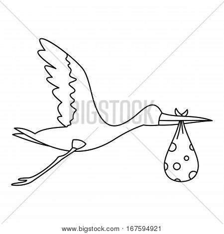Flying stork with baby icon. Outline illustration of flying stork with baby vector icon for web
