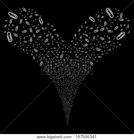 Attach fireworks stream. Vector illustration style is flat white iconic symbols on a black background. Object double fountain done from random pictograms.