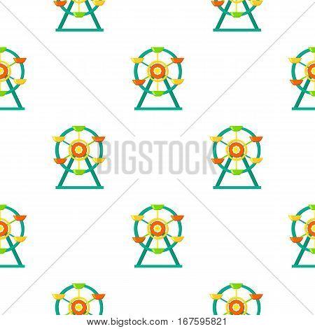 Ferris wheel icon in cartoon style isolated on white background. Play garden pattern vector illustration. - stock vector