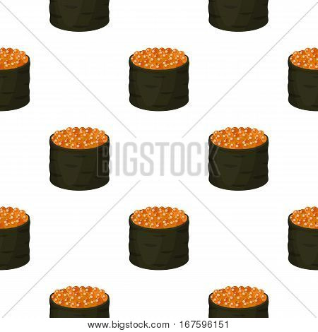 Ikura gunkan-maki icon in cartoon style isolated on white background. Sushi pattern vector illustration. - stock vector