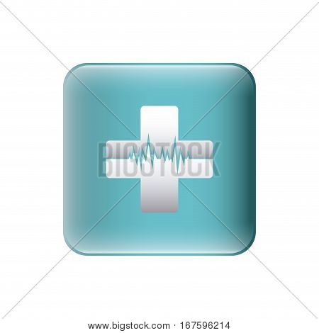 color silhouette with square with cross with line of vital sign vector illustration
