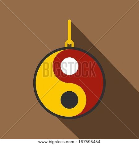 Ying yang symbol of harmony and balance icon. Flat illustration of ying yang symbol of harmony and balance vector icon for web on coffee background