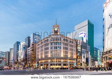 TOKYO JAPAN - January 18 2017 : Cityscape in the Ginza District. The district offers high end retail shopping.