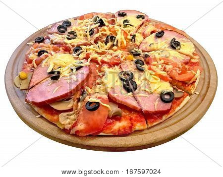 Delicious pizza with ham tomato mushrooms cheese olives on a round board. Isolated on white background