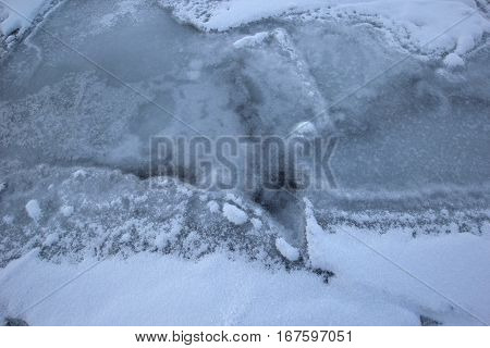 Looking down at a frozen Lake Michigan