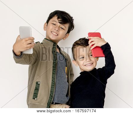 Kid using digital device portrait