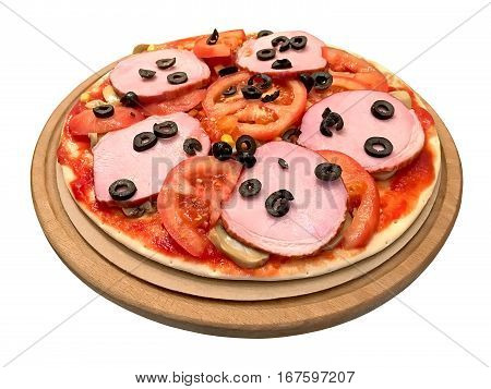 Delicious pizza with ham tomato mushrooms olives on a round board. Isolated on white background
