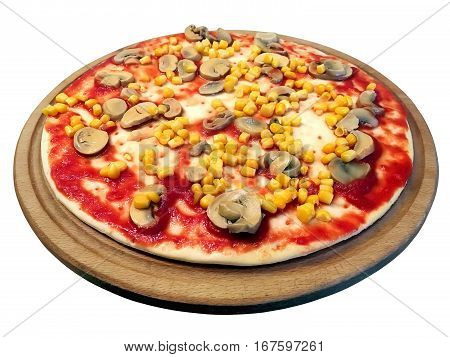 Delicious pizza with mushrooms tomato corn on a round board. Isolated on white background
