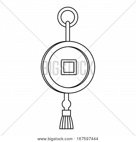 Feng shui Chinese coin with hole icon. Outline illustration of feng shui Chinese coin with hole vector icon for web