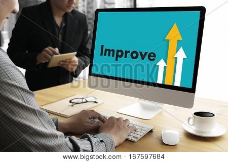 Businessman Success Increase Improve Your Skills And Make Things Better To Improvement Arrow Up