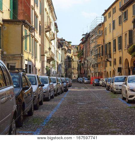 VERONA, ITALY - JULY, 2, 2016: Car parking in a center of Verona, Italy