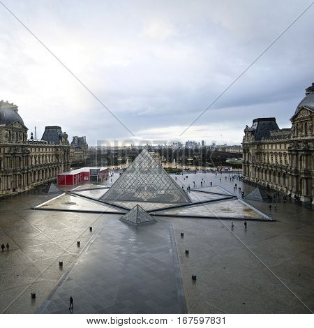 Paris, France, February 10, 2016: facade of Louvre in Paris, France