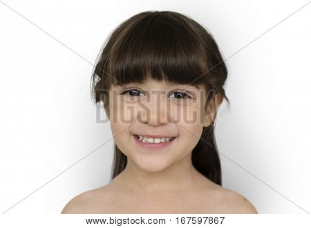 Little Girl Smiling Bare Chested