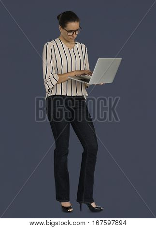 Caucasian Business Woman Laptop