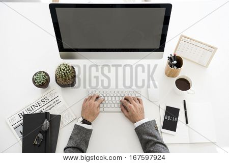 Man Working Hands Business Technology